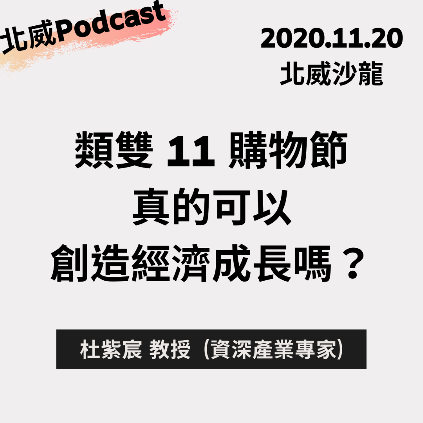 《類雙11購物節真的可以創造經濟成長嗎?》 北威沙龍 ,杜紫宸教授 ( 11/20)