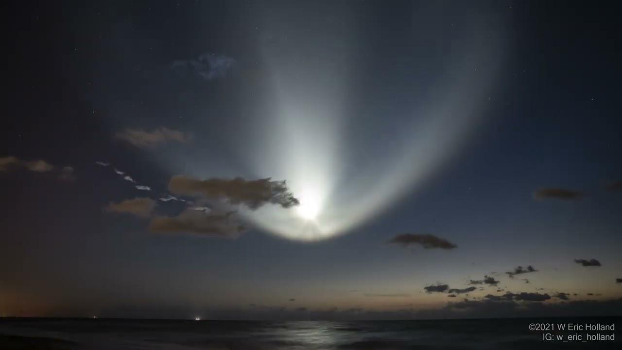 SpaceX 載人太空船 2 號發射了後 ê 軌跡 kah 煙流 ft. 阿錕 (20210424)